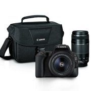 Canon EOS Rebel 200D / SL2 24.2MP Digital SLR Camera Black with 18-55mm 75-300mm Lenses and Canon 100es Case Premium Bundle