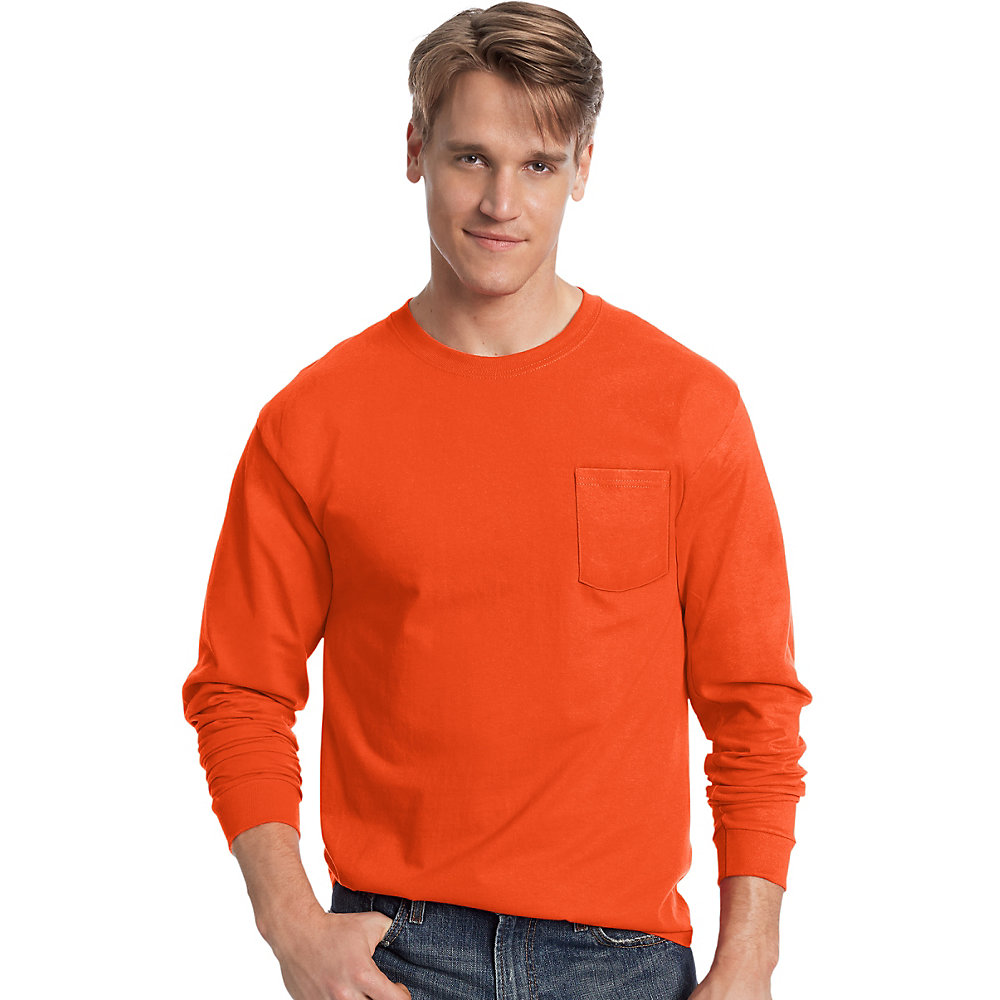 4eef076a39d3 Hanes Long Sleeve T Shirts With Pocket