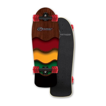 Fathom by Shark Wheel Rasta Cruiser Longboard Skateboard Complete, Brown
