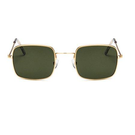 Retro Small Square Frame Sunglasses Transparent Ocean Lens Sun (Glass Transparent Square)