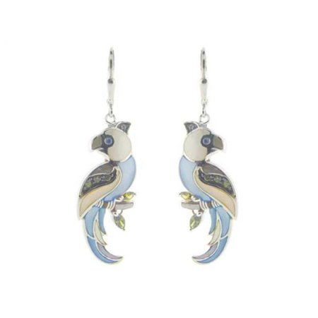 Fronay 855115 Mother of Pearl Parrot Earrings in 925 Sterling Silver, French Clasp - image 1 de 1