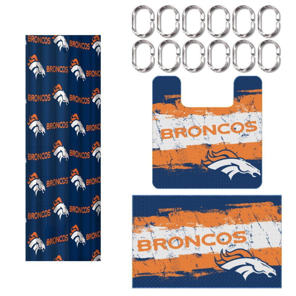 Denver Broncos Nfl 15 Piece Rug Shower Curtain Bath Set Com