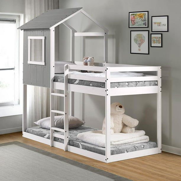 Tree House Bunk Bed - Rustic Dark Grey w/ white frame