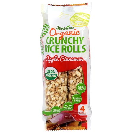 Jayone Organic Crunchy Rice Rolls, Apple Cinnamon Flavor, USDA Organic, 4 Rolls 2.1 ounce, 60kcal per Roll, Vegan, Gluten Free, Non-GMO, Product of Korea