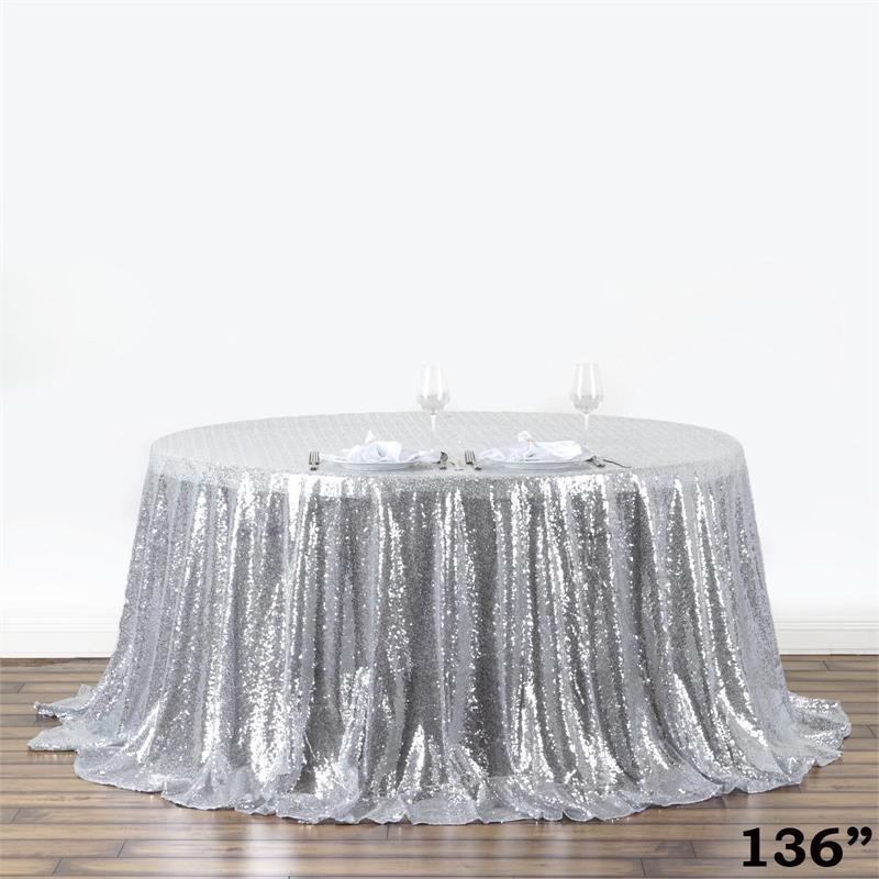 "Efavormart LUXURY COLLECTION Duchess Sequin Round Tablecloths 132"" for Kitchen Dining Catering Wedding Birthday Party Decorations"