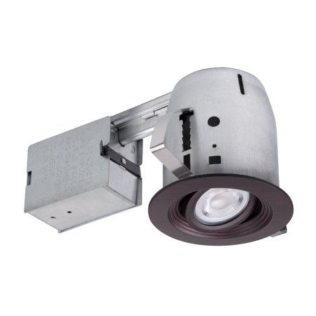 Globe Electric 4 in. Oxide Bronze Die-Cast Recessed Lighting Kit, Bulb Included, 9097701