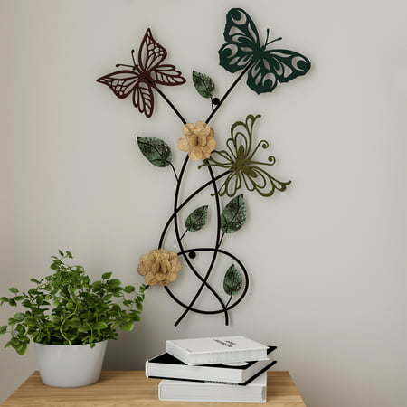 Garden Butterfly Metal Wall Art Hand Painted Decorative 3d Butterflies Flowers For Modern Farmhouse Rustic Home Or Office Decor By Lavish Home