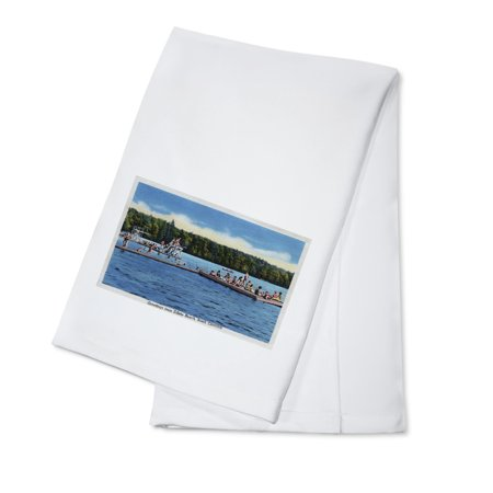 Edisto Beach, South Carolina - Greetings From Scene, Swimmers on Dock (100% Cotton Kitchen - Swimmers Towel