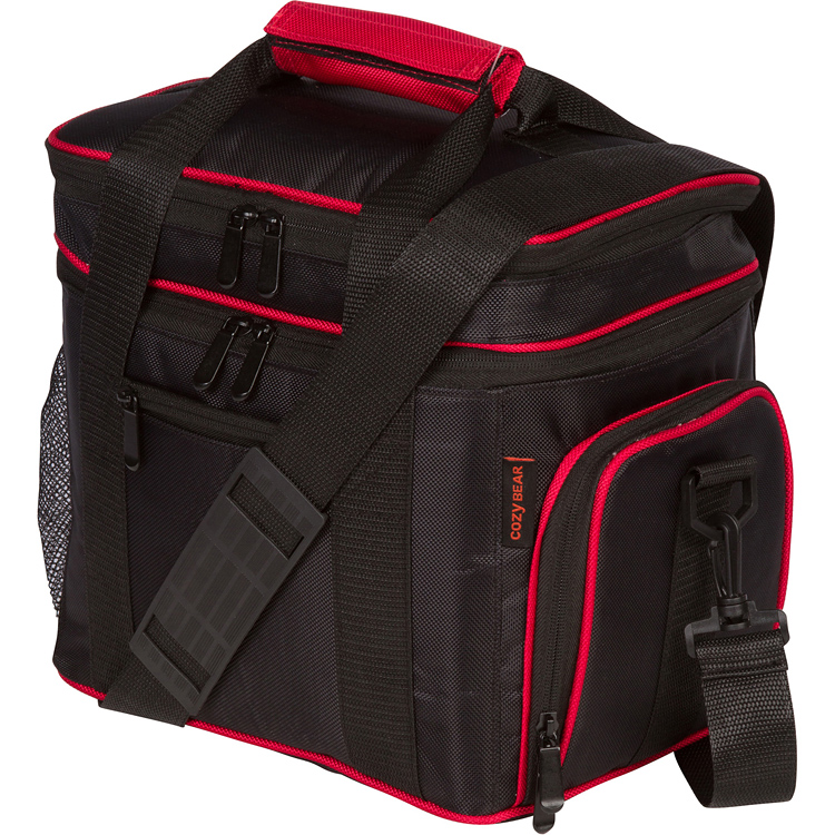 Insulated Cooler Lunch Bag - Multiple Storage Pockets - For Men, Women, and Children by Cozy Bear (Black with Red Trim)