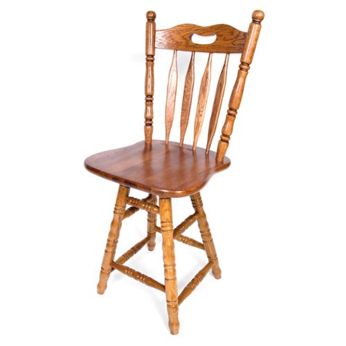 Solid Medium Oak Sweetheart Back Swivel 30-inch Counter Height Barstool