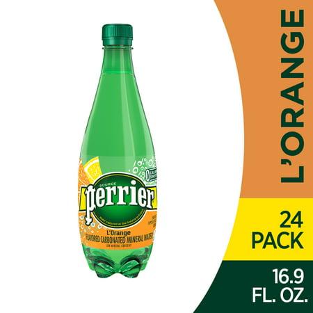 Perrier L'Orange Flavored Carbonated Mineral Water (Lemon Orange Flavor), 16.9 fl oz. Plastic Bottles (24