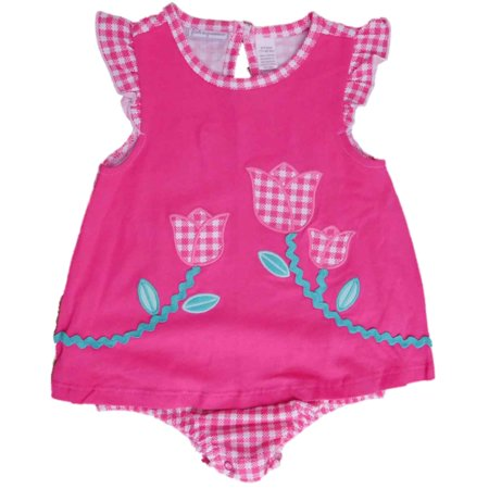 654f8d44c43e First Impressions - Infant Girls Pink Gingham Tulip Romper Floral Bodysuit  Baby Outfit - Walmart.com