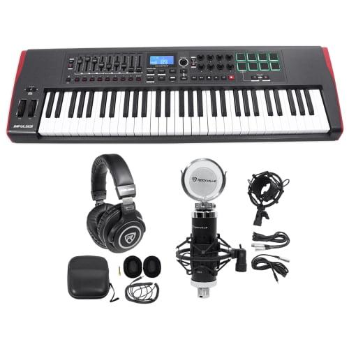Novation IMPULSE 61-Key Ableton Live Keyboard Controller+Headphones+Speaker+Mic