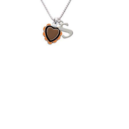 Brown & Black Heart with Orange Ruffles Capital Initial S Necklace - Orange Necklaces