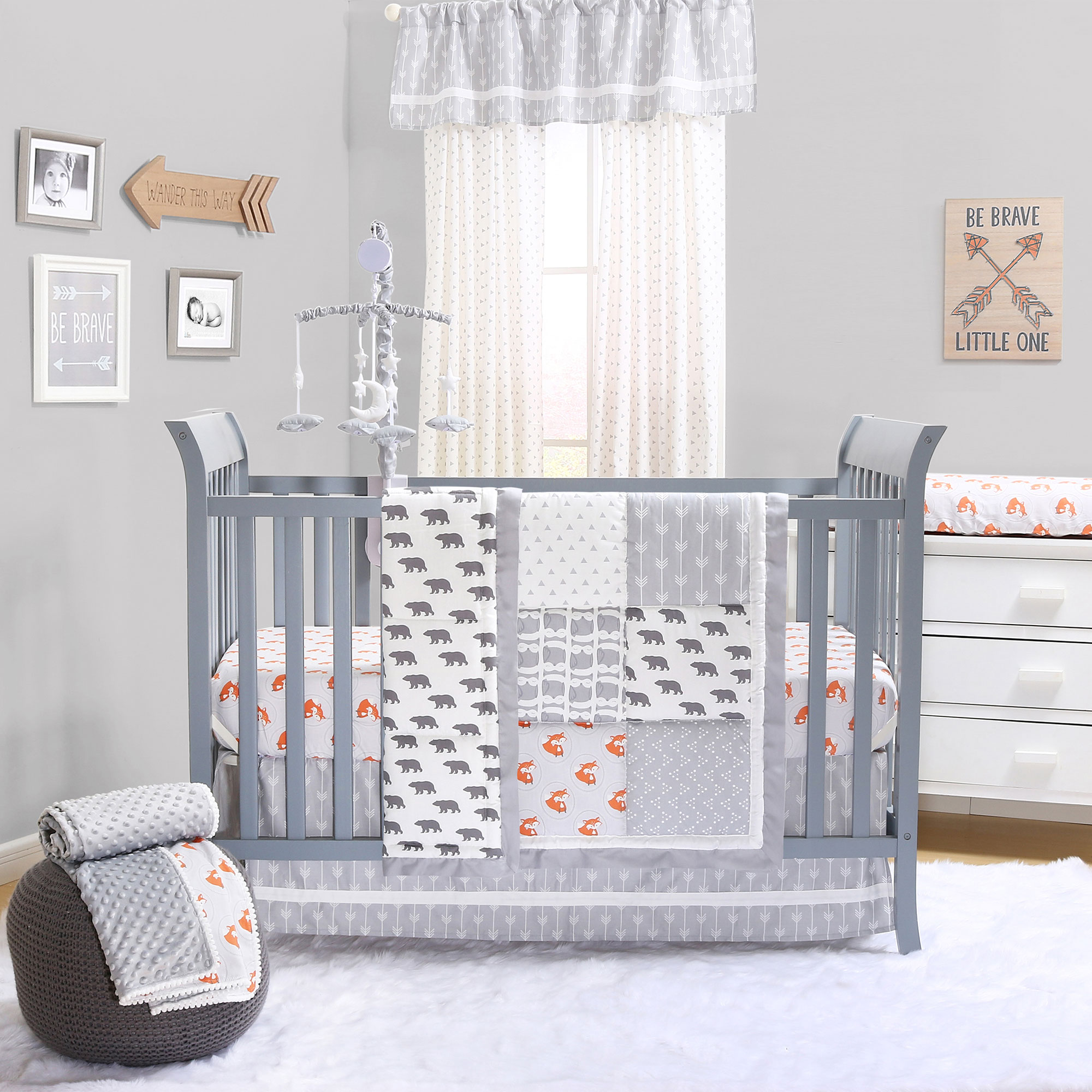 Grey Woodland Bear and Fox Baby Boy Crib Bedding - 11 Piece Sleep Essentials Set