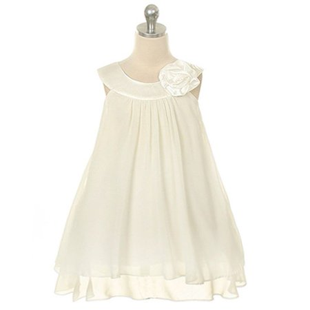 Girls On Line (Kids Dream Little Girls Ivory Chiffon A Line Flower Girl Dress)