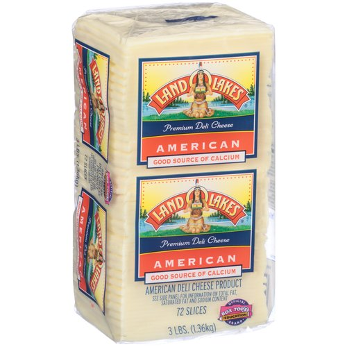 Land O Lakes Premium American White Cheese Slices, 72 count, 3 lbs