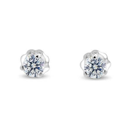 Vs2 Natural (0.92 ct tw G VS2 Natural Round Diamond Stud Earrings Three Prong Setting 14K White Gold Screw Back )