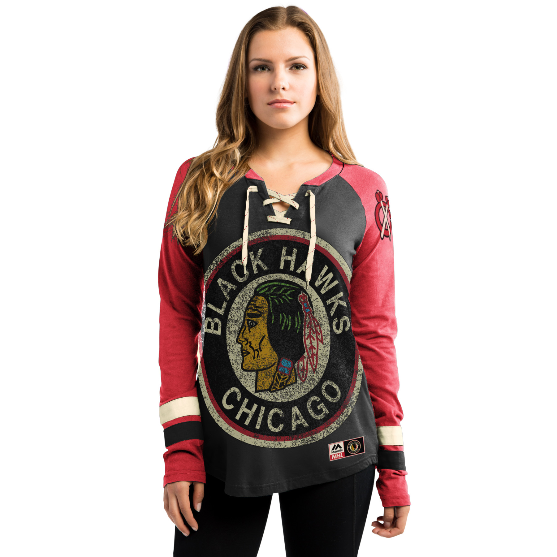 Chicago Blackhawks NHL Womens Vintage Hip-Check Longsleev...