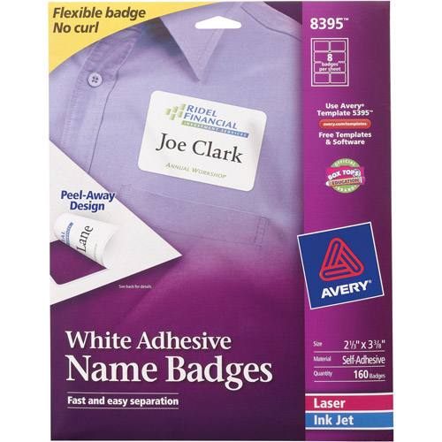 "Avery Flexible Self-Adhesive Name Badges 8395, White, 2-1/3"" x 3-3/8"", Pack of 160"