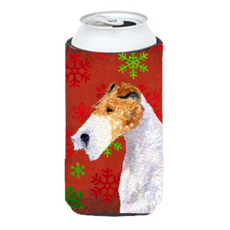 Fox Terrier Red And Green Snowflakes Holiday Christmas Tall Boy bottle sleeve Hugger - 22 To 24 oz. - image 1 de 1