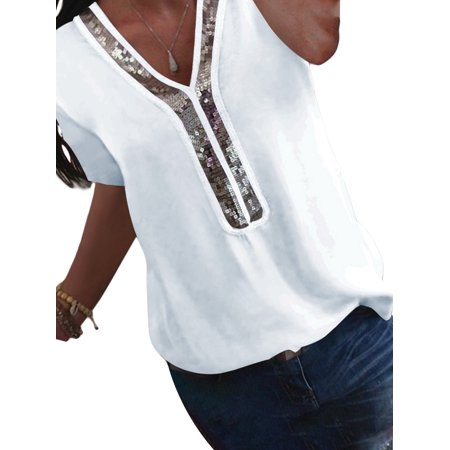 - Plus Size Women Basic Tee T-Shirt Summer Tops Sequined V-neck Short Sleeve Casual Loose Baggy Chiffon Blouse S-5XL White 4XL