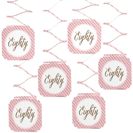 Chic 80th Birthday - Party Hanging Decorations - 6 Count