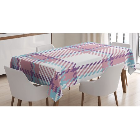 Checkered Tablecloth, Antique Clothing Pattern Design with Retro Display English Culture, Rectangular Table Cover for Dining Room Kitchen, 52 X 70 Inches, Lilac Purple Pale Blue, by Ambesonne](60 And 70 Clothes)