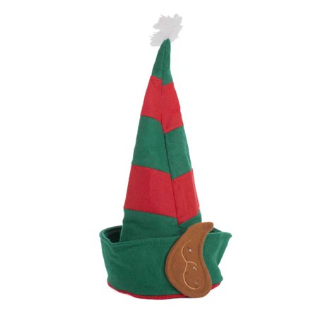 JHats Light-Up Holiday Elf Felt Hat w Ears, Pom & Sound, Red Green, One Size