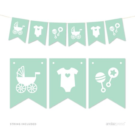 Mint Pennant Party Banner Baby Shower Rattles Carriage Onesie (Mint Green Baby Shower)