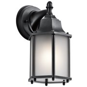 "Kichler 9774S Chesapeake 10"" Satin Glass Outdoor Wall Sconce - Black"