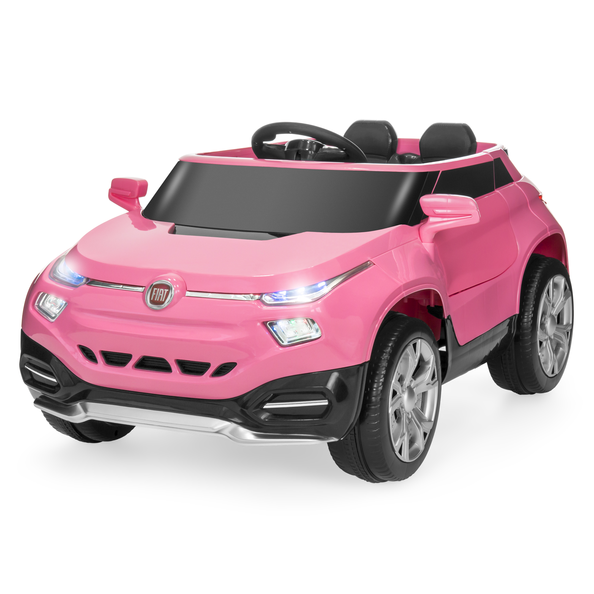 Best Choice Products Kids 12V Licensed Fiat Ride On Car SUV w/ Suspension, Surround Sound Speaker, LED Lights - Pink