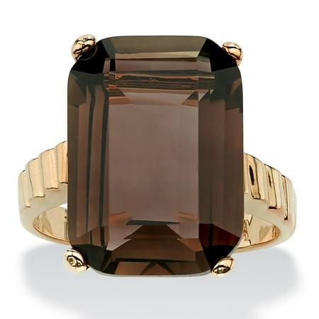 Quartz Elegant Ring - 10.75 TCW Emerald-Cut Smoky Quartz Ring in 14k Gold-Plated