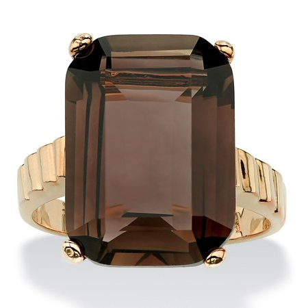 10.75 TCW Emerald-Cut Smoky Quartz Ring in 14k -