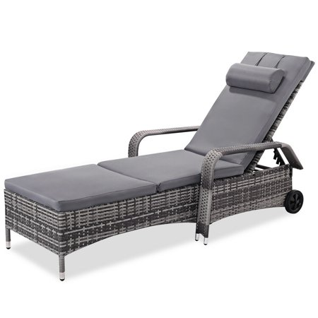 Gymax Adjustable Outdoor Patio Chaise Lounge Cushioned Recliner Chair Furniture - image 4 of 5