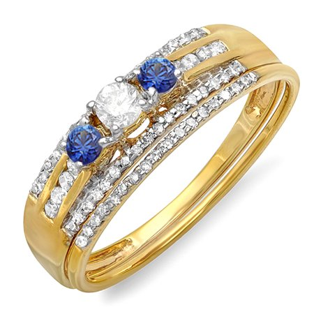 Dazzlingrock Collection 14K Round Blue Sapphire & White Diamond Ladies 3 Stone Bridal Ring Engagement Set, Yellow Gold, Size 7.5