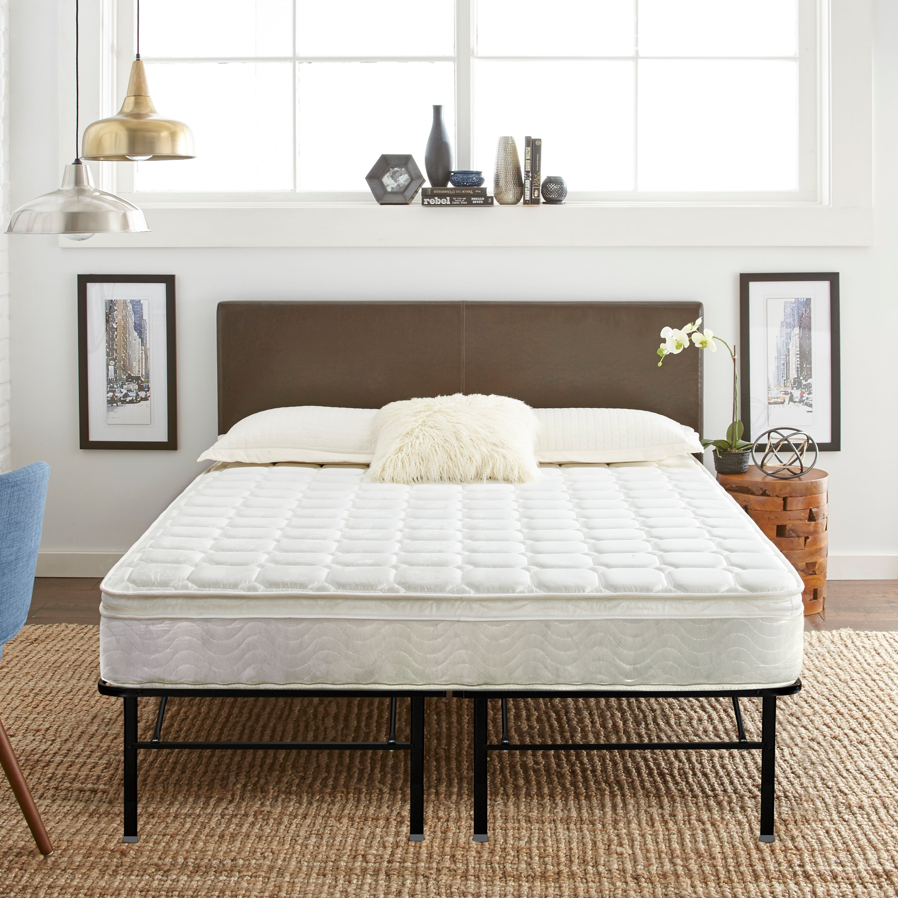 "Contura 8"" Hybrid Mattress plus Premier 18"" Platform Base Bed Frame Set, Multiple Sizes"