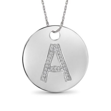Coin Pendant (1/20 Carat T.W. White Diamond Sterling Silver A Initial Coin Pendant)