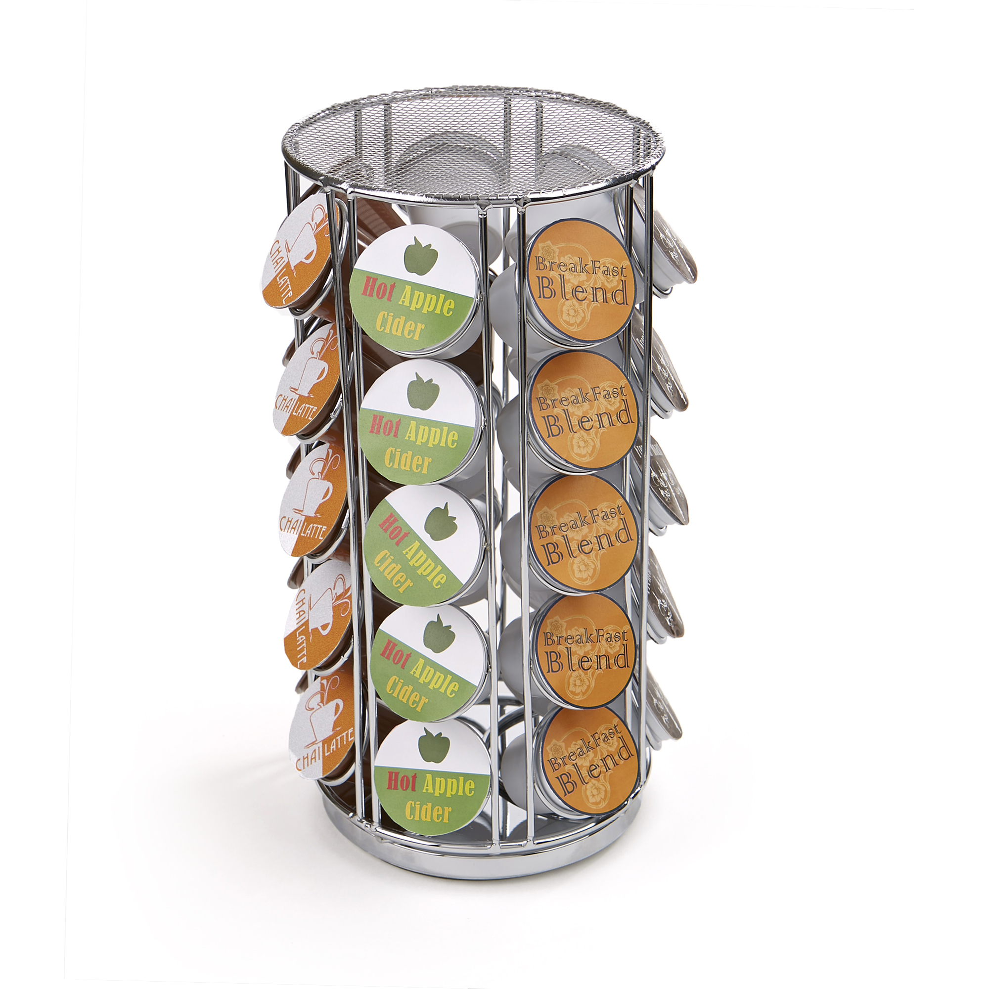 Mind Reader 35 Capacity Rotating Metal K-Cup Carousel, Silver