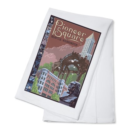 Pioneer Square Halloween (Seattle, WA - Pioneer Square Montage - Lantern Press Poster (100% Cotton Kitchen)