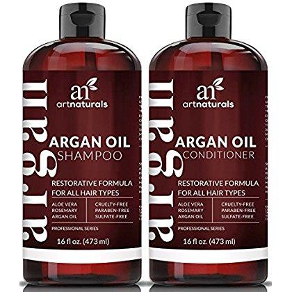 Argan Oil Shampoo & Conditioner (16oz) Natural Restorative Formula Sulfate Free