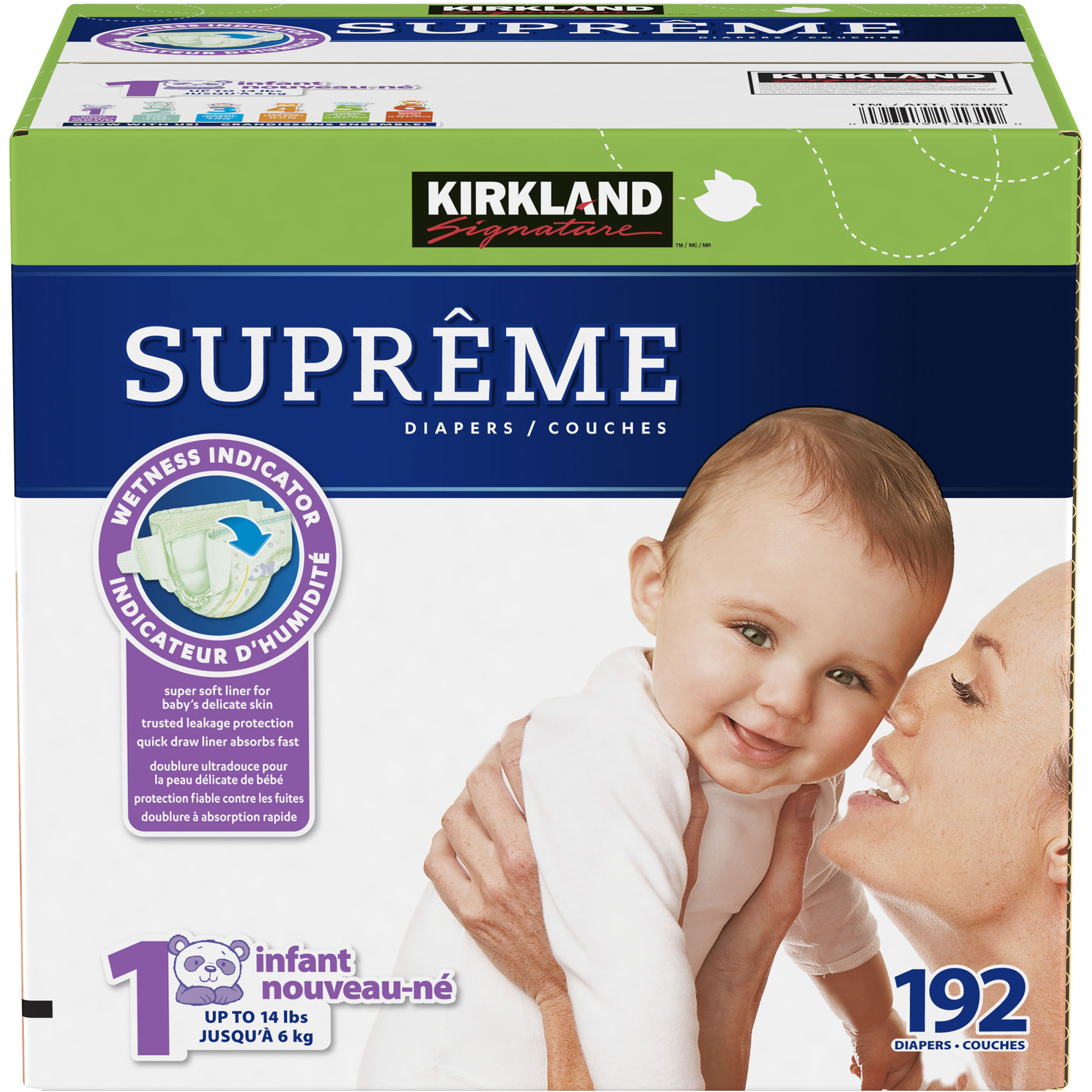 Kirkland Signature Supreme Diapers Size 1; 192-count
