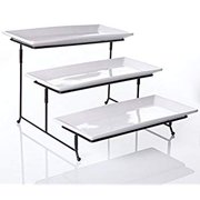 3 Tier Collapsible Thicker Sturdier Plate Rack Stand With Plates - Three Tiered Cake Serving Tray - Dessert Fruit Presentation - Party Food Server Display - 3 White 12' x 6' Porcelain Platters Incl.