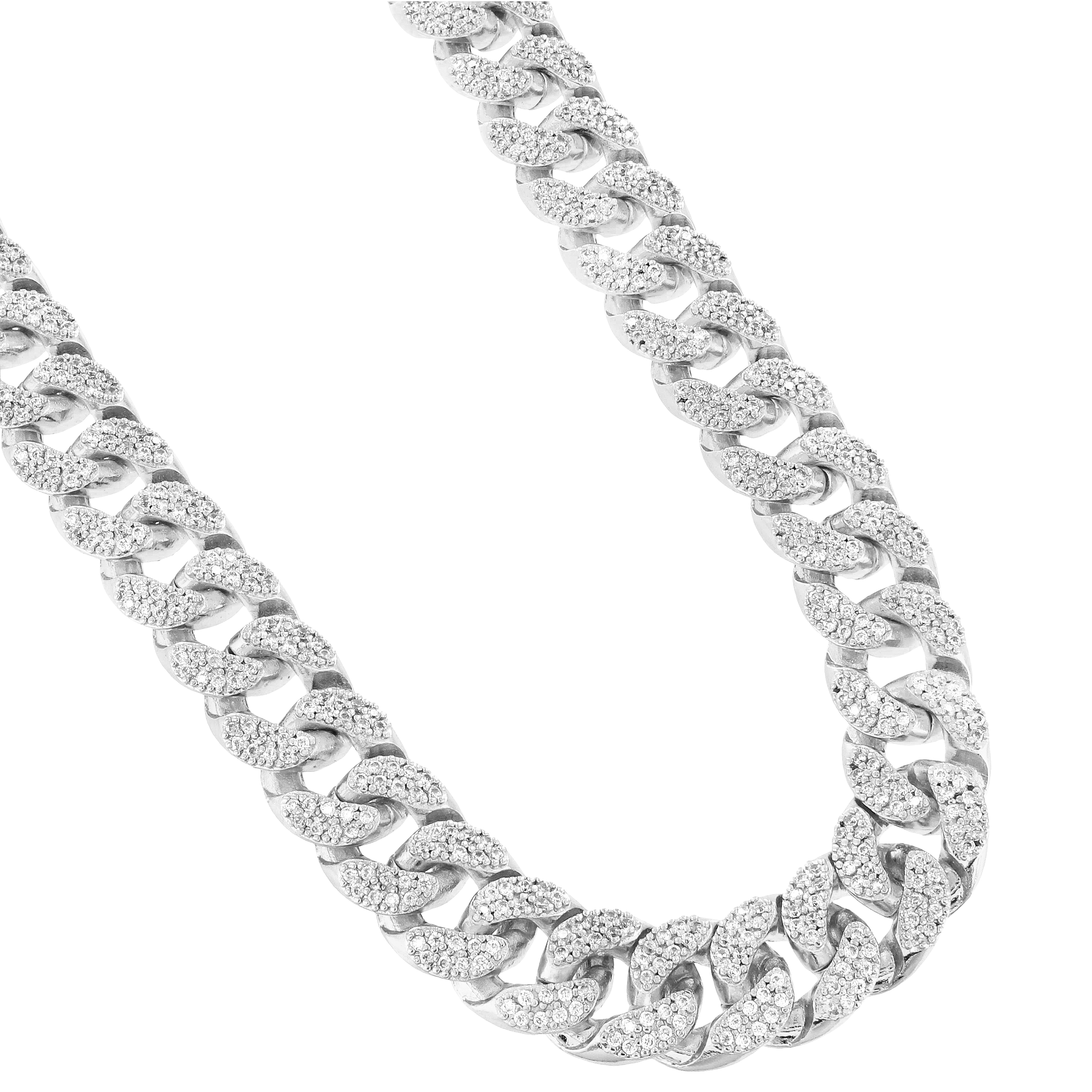 Miami Cuban Link 18 INCH CHAIN 15MM Necklace For Men Iced Out Lab Created Cubic Zirconias Silver Tone Heavy
