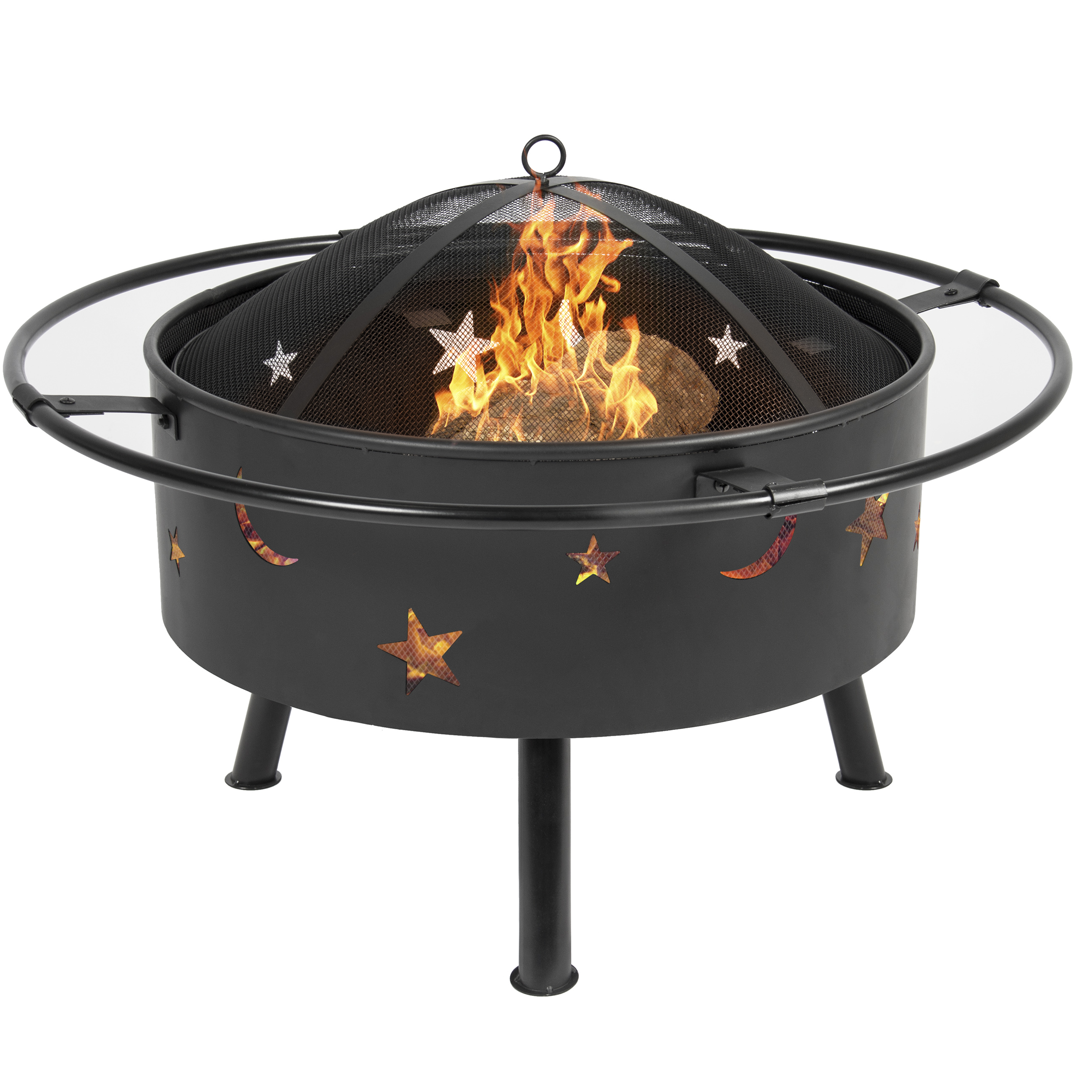 Best Choice Products 30in Outdoor Patio Fire Pit BBQ Grill Fire Bowl Fireplace w/ Star Design - Black
