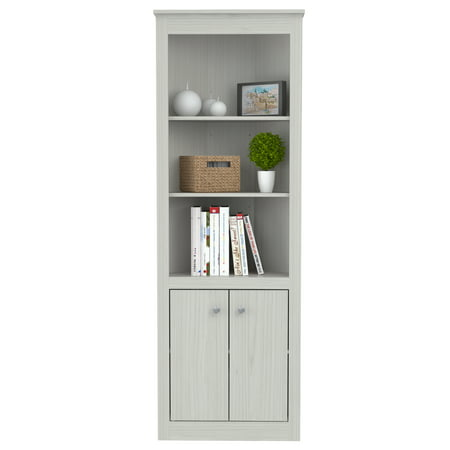 Inval Washed Oak Two Door Corner Bookshelf
