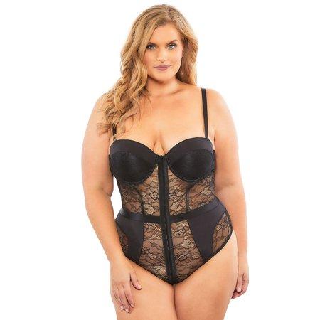 fe1713a6b2f7 Plus Size Lili Lace Bodysuit - Walmart.com