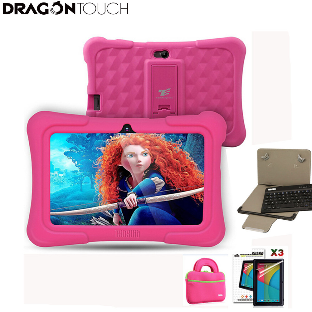 Dragon Touch Y88X Plus 7 inch Pink Kids Tablets Quad Core CPU Android 6.0 Lollipop IPS Display Kidoz Pre-Installed+ Tablet case + Screen Protector + keyboard for Kid