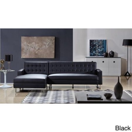 Brilliant Dorris Contemporary Button Tufted Faux Leather 2 Pc Left Facing Sectional Sofa Black Ncnpc Chair Design For Home Ncnpcorg