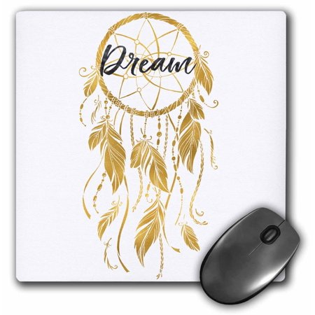Catchers Pad - 3dRose Picturing Gold Inspirational Dream Catcher - Mouse Pad, 8 by 8-inch